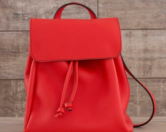 Handmade leather backpack. Red. Black. Milan
