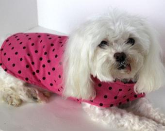 Dog Shirt / Dog Jacket, XS Pretty Pink and Black Polka Dot, Reversible to white polka dot on periwinkle, fashion dog clothes