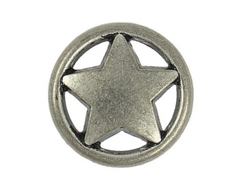 Metal Buttons - Ring and Star Silver Black Metal Shank Buttons - 23mm - 7/8 inch - 6 pcs