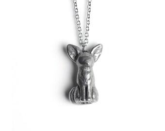 Fox Necklace, Fennec Fox Totem, Foxes, Cute Fox, Fox Jewelry, Fox Jewellery, Fox Things, Silver Pendant, Simple Pendant, Sculptural