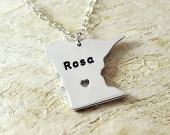 Minnesota Necklace  alloy 925 sterling silver necklace heart necklace Pendant State Necklace State Charm Map necklace Map Jewelry