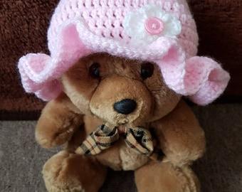 Baby crochet hat size three months.