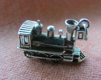 H) Vintage Sterling Silver Charm Locomotive train