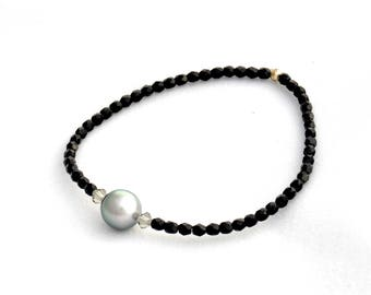 Bracelet Tahitian Pearl and black Czech beads