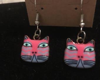Pink Kitty Face Earrings