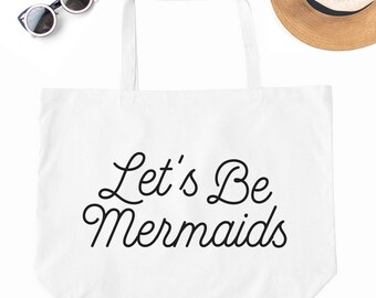 Mermaids, Canvas Beach Bag, Beach Bag, Beach Tote, Vacation Tote Bag, Vacation Tote, Printed Beach Bag, Large Beach Tote, Big Canvas Bag
