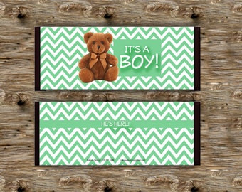 It's a Boy! Baby Anouncement Candy Bar Wrappers for 1.5oz Hershey Bar- Party Favor Add a name! Instant Digital Download
