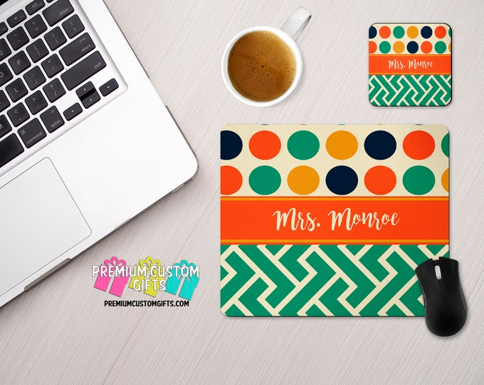 Personalized Mouse Pad and Coaster Set - Custom Designed Desk Set - Monogram Mouse Pad - Teacher Gift - Custom Coaster - Custom MousePad