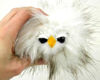 Stuffed Animal Owl Toy - Kawaii Plush Woodland Owlet Miniature white and black