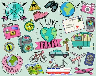 Travel Clipart, summer clipart, bullet journal stickers, travel clip art, summer clip art, summer travel clipart, vacation clipart