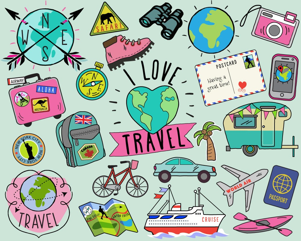 travel clipart summer clipart bullet journal stickers rh etsy com clipart travel black and white clipart traveling