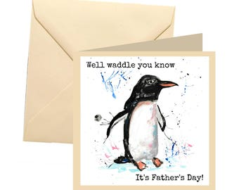 Fathers day card, penguin fathers day, joke dad card, awesome dad, dad greetings card, father card, dad card