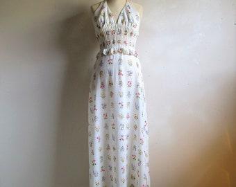 Vintage 70s Summer Halter Dress Orange Pink Daisy 1970s Malia Hawaiian Maxi Tiki Kawaii Beach Dress XS