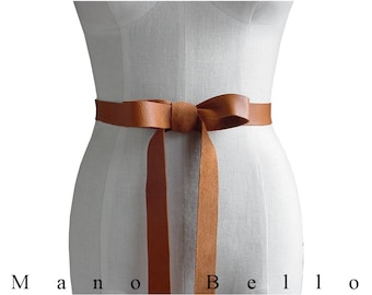 Leather Ribbon Bow Belt, Skaters belt, Shoestring belt, Honey Tan 1 inch Caramel Leather Strap,  Xsmall Small Medium Large 24 - 31 waist
