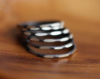 Black and White Sterling Silver Stacking Ring-Free Shipping, sterling ring, silver ring, black and white