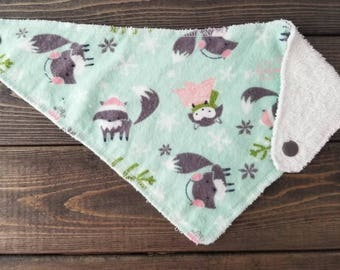 Baby Bandana Bib - Fox - Dribble Bib - Mint - Winter - Pink - Ready to Ship