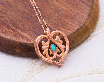 Heart Necklace Art Nouveau Pendant October Birthstone Necklace First Mothers Day Rose Gold Chain Electroformed Necklace Dainty Opal Necklace