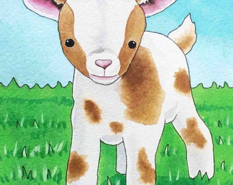 Matted Baby Goat Print (5x7)