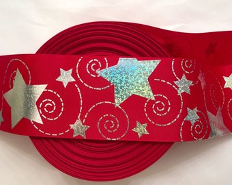 Star Ribbon, Cheer Ribbon, Red Cheer Ribbon, 4th of July,  3 inch Ribbon, Holographic Ribbon, Cheer Bow Ribbon, Cheer Bow