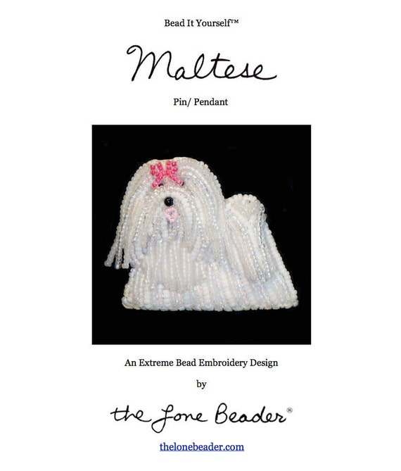 Pdf File Maltese Dog Pin Beading Pattern Beaded Animal Bead