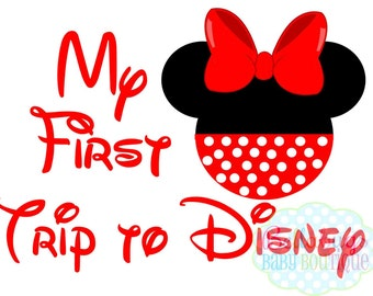 My First Trip to Disney Minnie Mouse Head Disney INSTANT DOWNLOAD Printable Digital Iron-On Transfer Design - DIY - Disney Trip