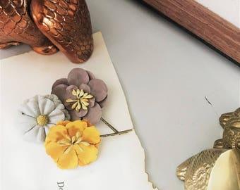 Floral Paper Antique Brass Hair Pins