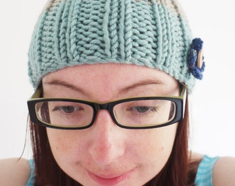SALE Knitted beige / blue winter hat with button flower detail