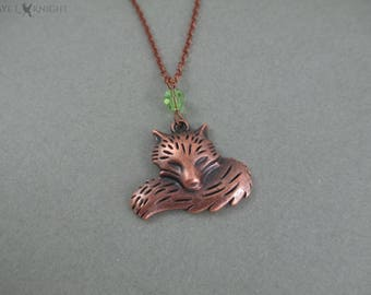Copper Fox Charm Necklace