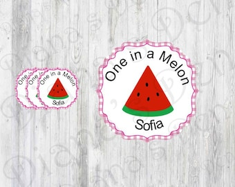 Watermelon Stickers/Melon Stickers/One in a Melon/Watermelon Party/Watermelon Birthday/Melon Baby Shower/Melon Party/Melon Tags/Melon Decor