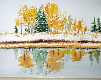 Fall Landscape/Original Watercolour Landscape/First Snow Landscape/Trees Near the Lake/Nature Art - Thanksgiving Gift, Birthday Gift