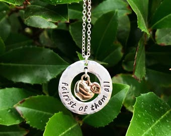 Fairest of them all necklace, Snow White quote, apple necklace, just one bite, evil queen