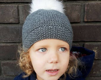Baby beanie hat, toddler beanie hat, pompom baby hat, girls hat, boys hat, knitted baby hat, new baby gift, matching hat - made to order