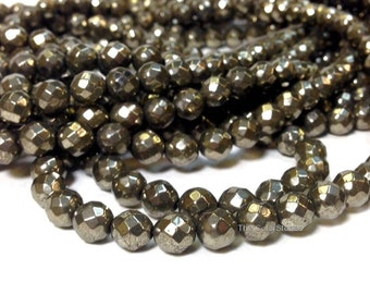 Full Strand Natural Pyrite 4 6 8 or 10 mm Faceted Round Beads Gemstone 64 Faces (G5930P32-MS-BH4,6M)