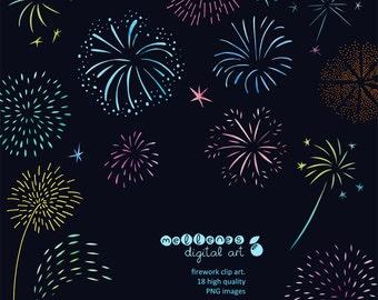 Set of 18  high quality PNG clip art / clipart / scrapbook firework images for commercial and personal use