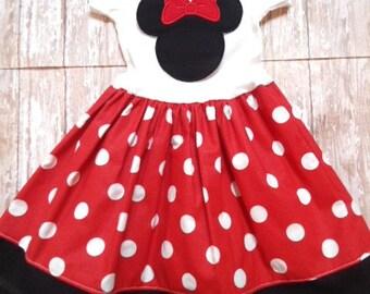 MINNIE MOUSE, disney dress, birthday minnie party dress, red dot, girls minnie mouse dress, first birthday party, minnie party dress