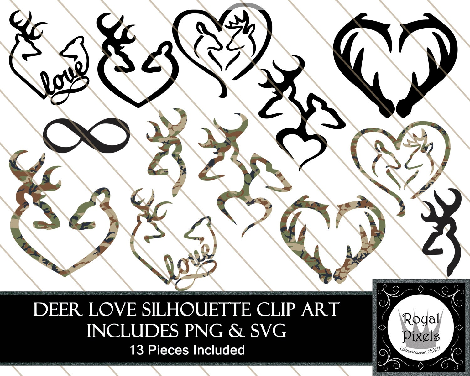 Hunting Silhouette Clip Art Set 13 Piece 7 Inches Browning