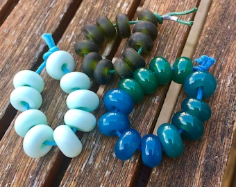 Green Lampwork Spacer Bead Bundle, SRA, UK Lampwork, UK Seller