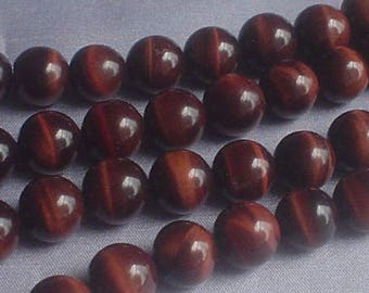 natural gemstone tiger eye red round bead 12 mm / 15 inch one strand