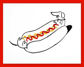 wiener dog limited edition print