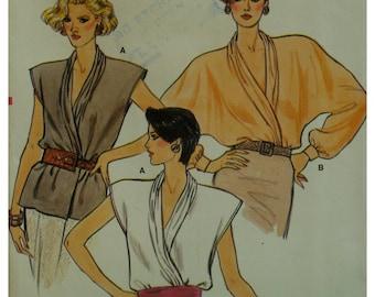 Wrap Blouse Pattern, Draped Neck, Sleeveless/Dolman Sleeves, Cuffs, Office Wear, Vogue No. 9326 UNCUT Size 8 10 12