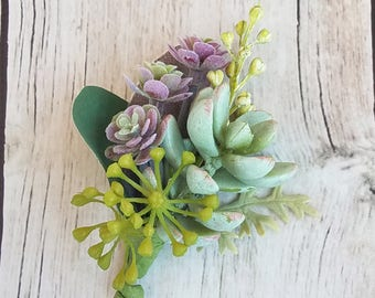 Groom's Mint Green & Purple Succulent Boutonniere