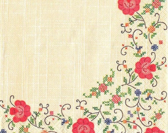 4 Decoupage Napkins, Paper Napkin for Decoupage, Strips and Roses, Craft Napkin, Roses Napkin, Decoupage Paper