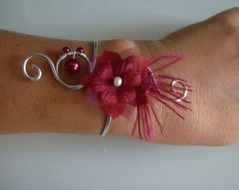 Original Burgundy/Red/silver bracelet, aluminum foil p dress bridal/wedding/party/ceremony/ceremony/Cocktail flower/feathers/beads