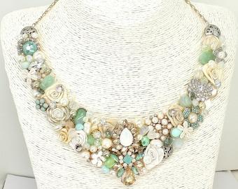 Mint Green Bridal Bib- Mint Statement necklace- Bridal Bib Necklace- Green Bridal Bib- Bridal statement Bib- Mint Green Necklace- Mint Bib