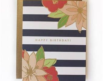 Happy Birthday - Birthday Stripes Card - Birthday Card - Greeting Card - Birthday Stripes - Letter Press Card