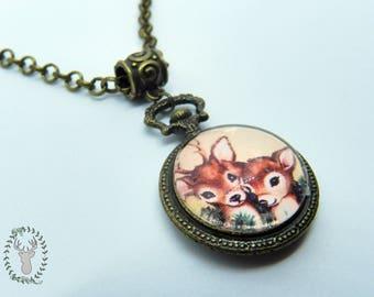 Christmas Love Necklace - Vintage Christmas, Mori kei and deer style