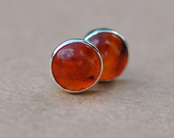 Amber Earrings handmade with Sterling Silver Earring Studs, 6mm Gemstone and silver stud earrings, amber jewelry,  orange, round, gifts, 925