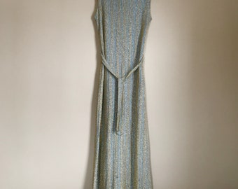 Vintage light blue and gold metallic  lurex knit maxi dress from the 60's