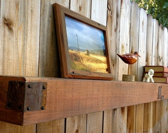 60 x 6 x 6 - Floating Wood Beam Shelf - Rustic Wall Shelving - Wooden Shelves - Living Room - Bath - Bathroom - Reclaimed Wood - Beam Shelf
