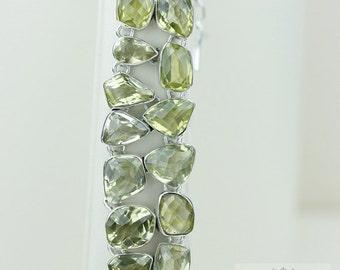 247 Carats COMBINED GENUINE LEMON Topaz 925 Solid Sterling Silver Bracelet & Free Worldwide Shipping B413